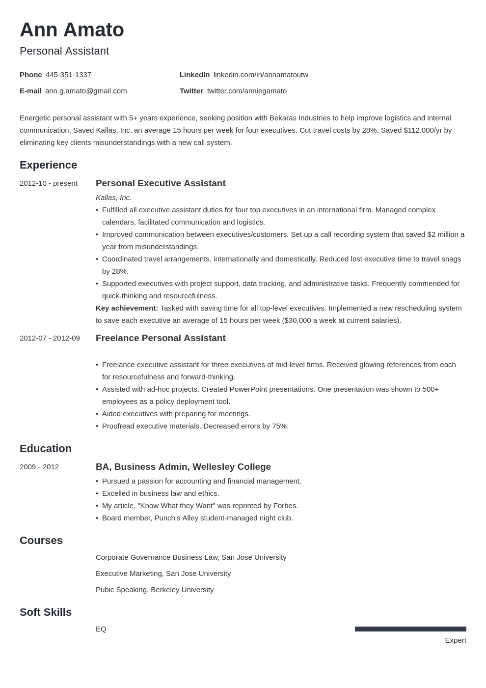 Personal Assistant Resume (Sample Job Description & Skills