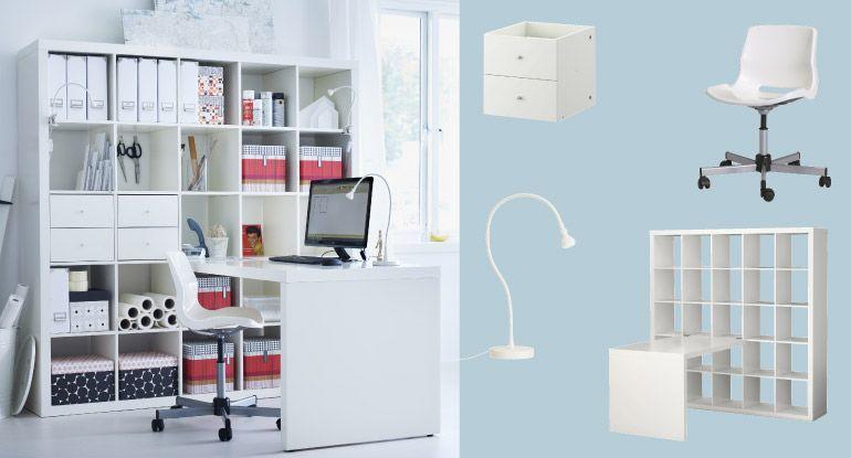Valkoinen EXPEDIT-kirjahylly ja -työpöytä