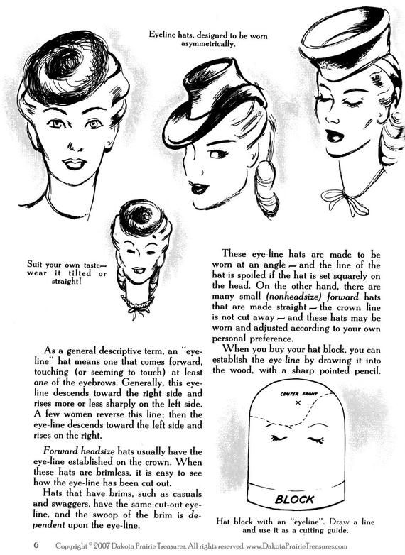 1944 WWII Swing Era Book How to Make & Trim Hats Millinery