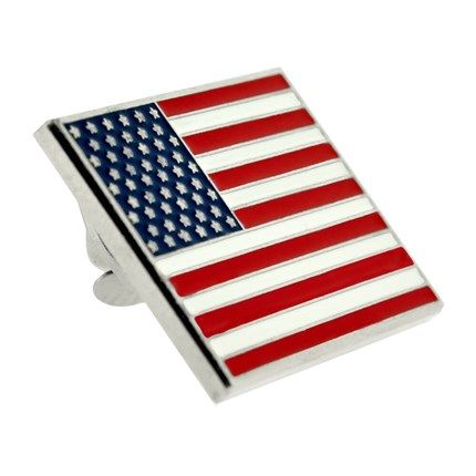 Rectangle American Flag Silver Pin Made In The U S A American Flag Flag Lapel Pins American Flag Lapel Pin