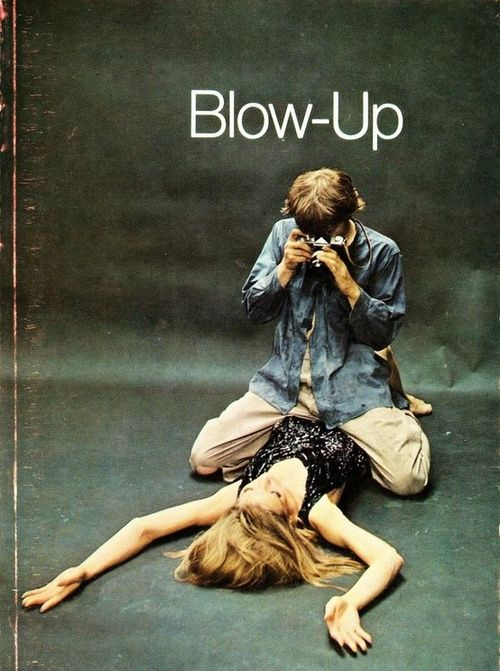David Hemmings and Vanessa Redgrave on a publicity still for Michelangelo Antonioni's 1966 movie Blow Up. Oh, and there's a SLR pictured as well ...