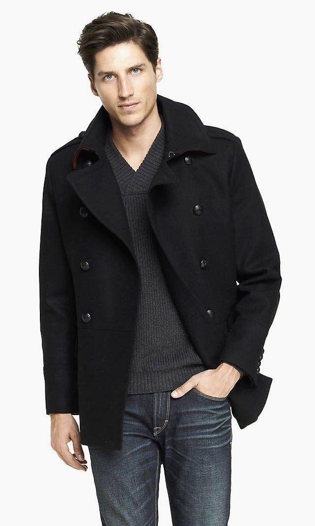 Express Mens Wool Blend Military Peacoat Coat Black XL | Men's ...