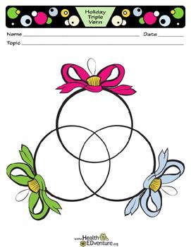 Holiday Triple Venn Diagram By Health Edventure Tpt Graphic Organizers Venn Diagram February Holidays