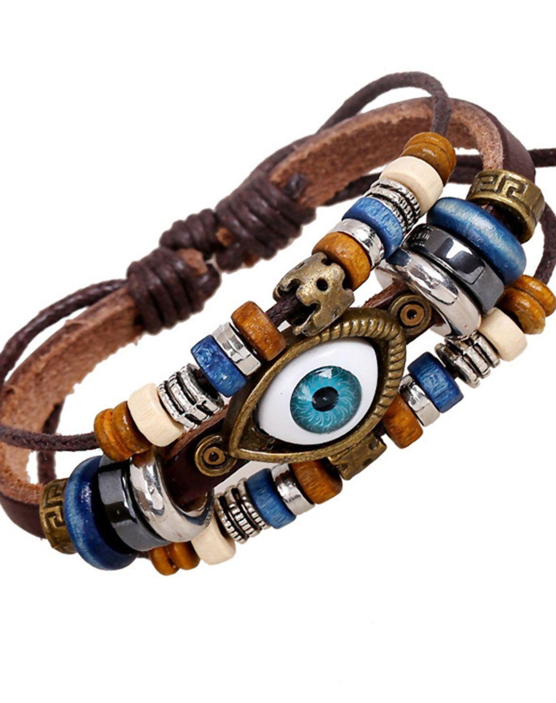Adorewe lua brown cow leather eye bead tribal style bracelet