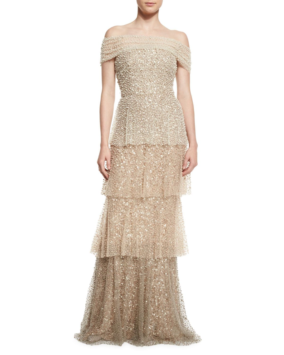 Pearly Ombre Tiered Gown, Gold | Gowns, Neiman marcus and Dresses