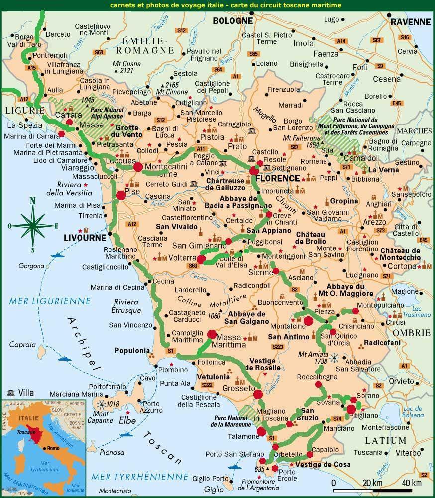 carnets de voyage italie   carte du circuit toscane maritime http