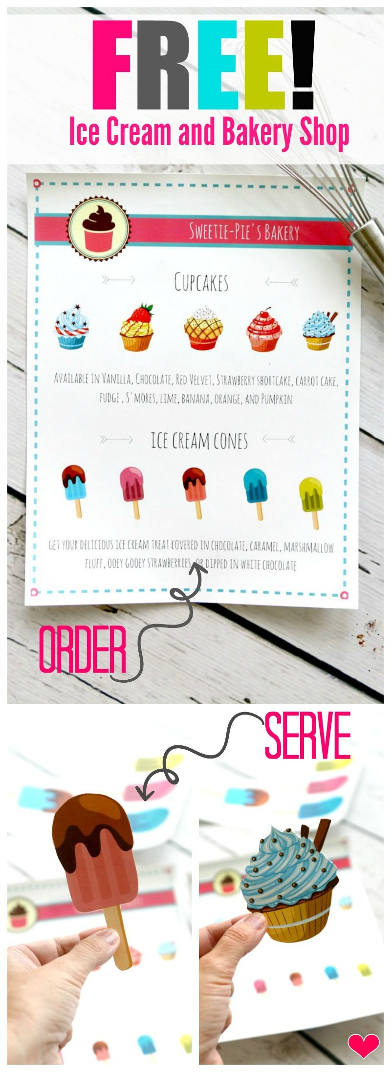 Free Bakery Ice Cream Shop Menu for kids plus extra sheets