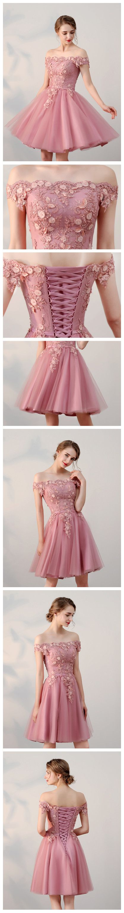 Chic aline offtheshoulder tulle pink charming short prom dress