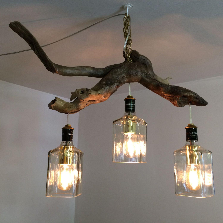 Lunazul Tequila Bottle Driftwood Hanging Light by PMGlassArt | Light ... for Driftwood Hanging Lamp  111bof