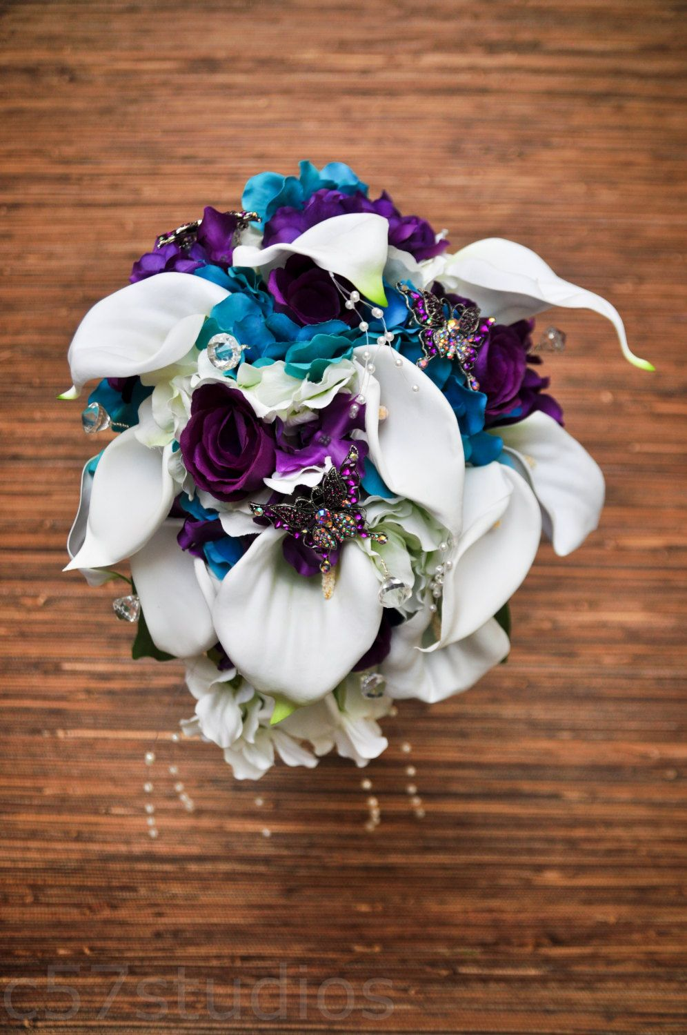 Made to Order: White, purple and tuquoise; Butterfly Broach Calalilly Cascading Bride Bouquet by c57Studios on Etsy
