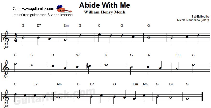 Abide With Me Easy Guitar Sheet Music Guitar Sheet Music