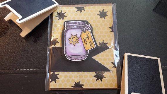 Handmade Card Rapunzel & Flynn Save the Date Wedding by JLMould