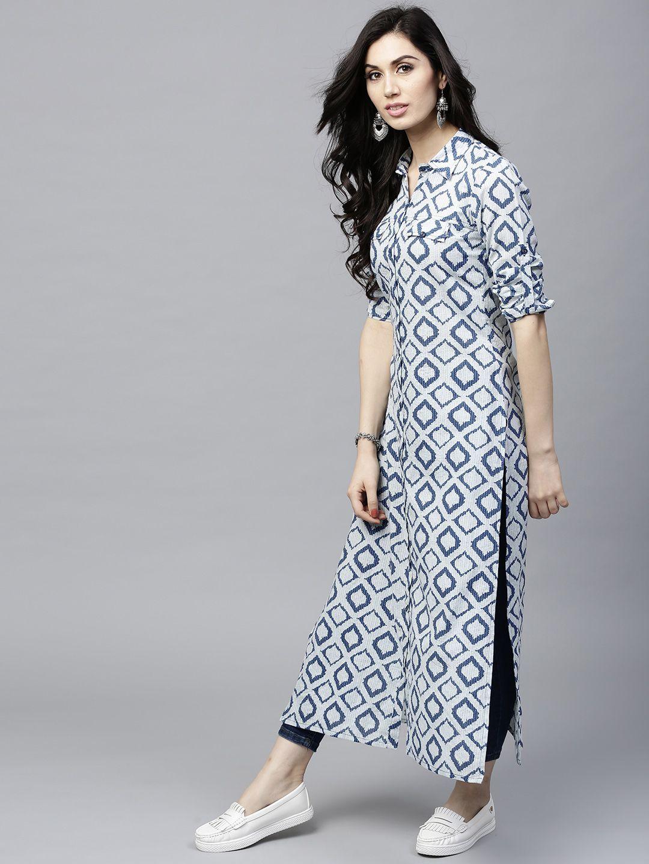 780061c3f Buy AKS Women Navy   Off White Printed Straight Kurta - Kurtas for Women  2463738