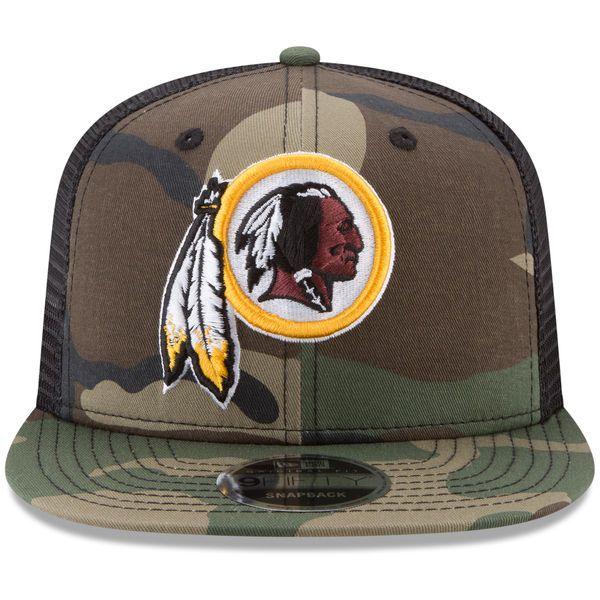 newest fd16e 6efd7 Men s Washington Redskins New Era Woodland Camo Black Trucker 9FIFTY  Snapback Adjustable Hat