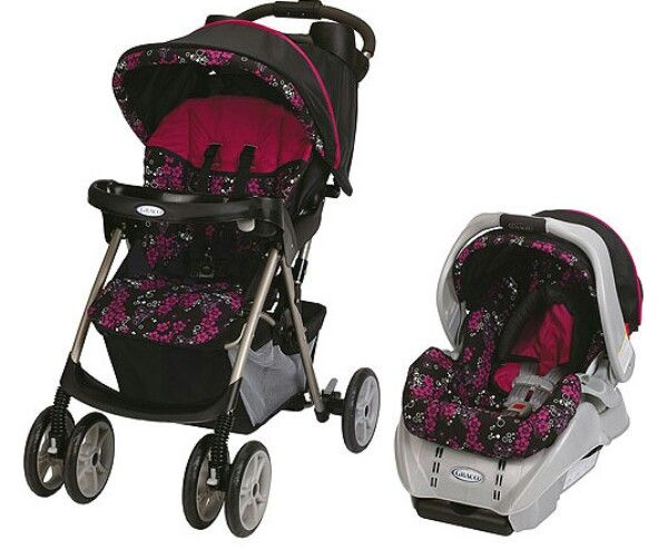 Graco Pink Black And White Travel System Baby Girl Strollers