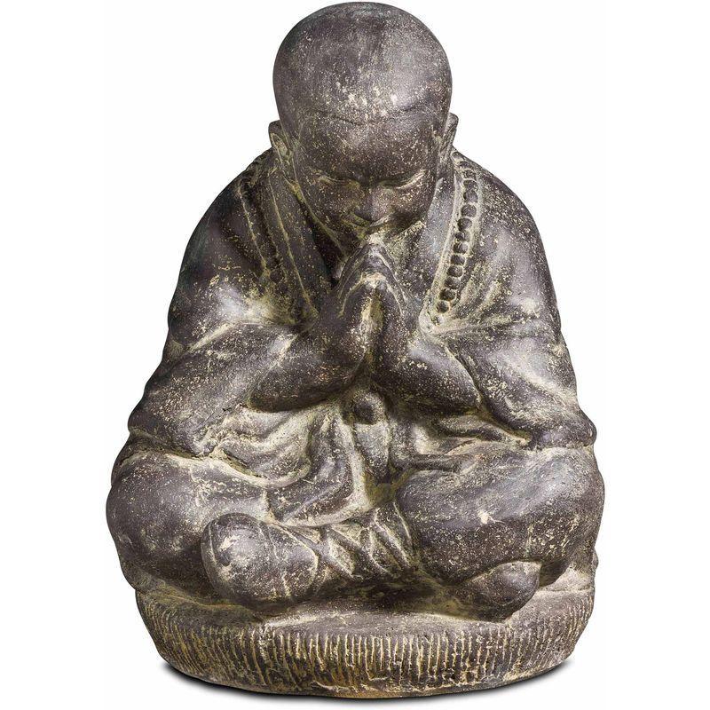 Statue De Jardin Moine Assis 47cm En Pierre Gris 104924