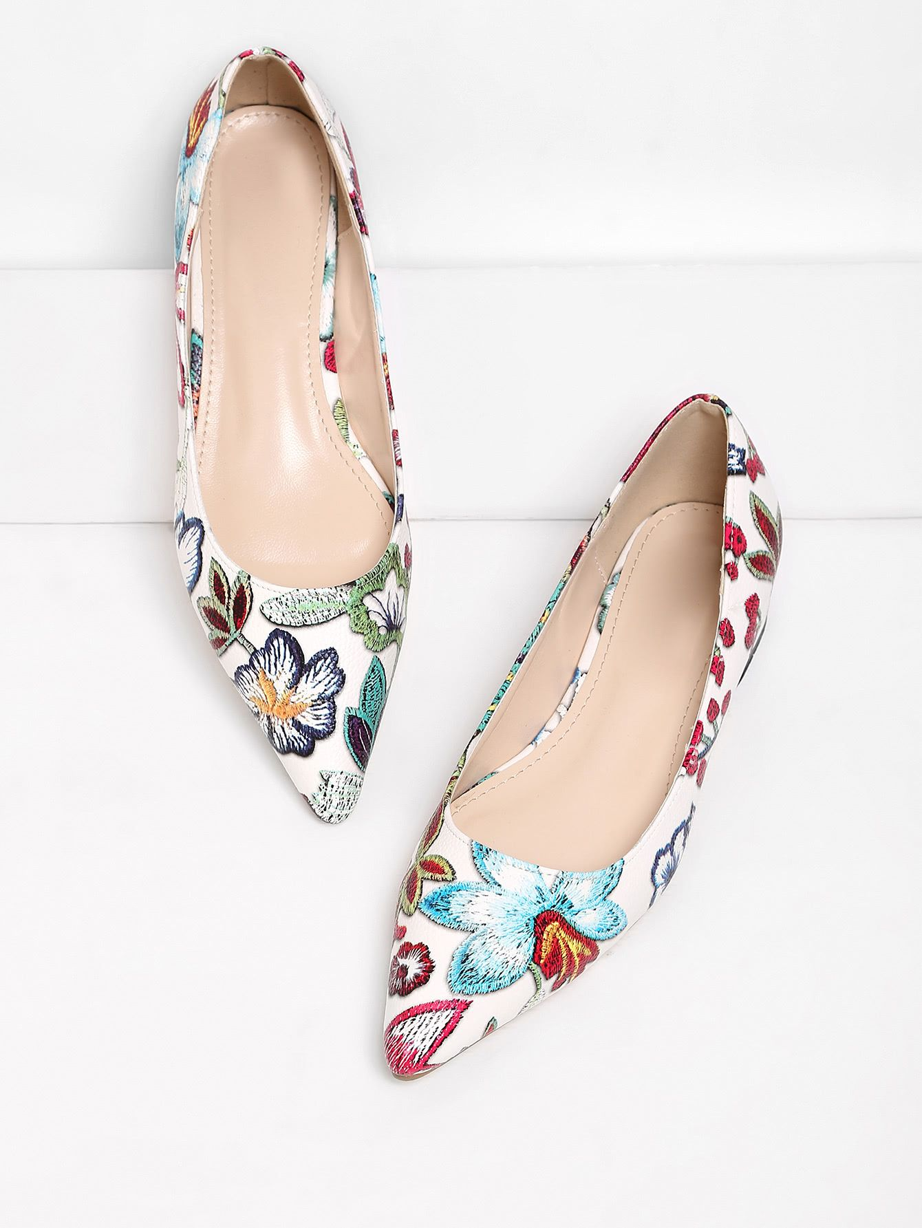 Shop Flower Pattern Pointed Toe Flats