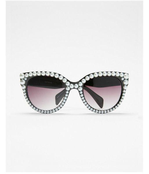 4dfe66f622 Pearl Embellished Cat Eye Sunglasses Women s Black