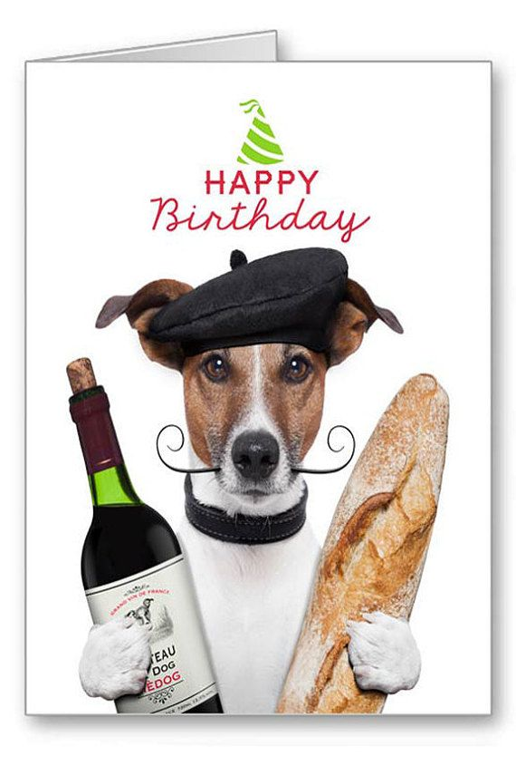 Greetings Cards Happy Birthday Dogs Jack Russell Terrier Funny Dog With Bottle Of Wine And Baguette 5x7 Card Envelope No1