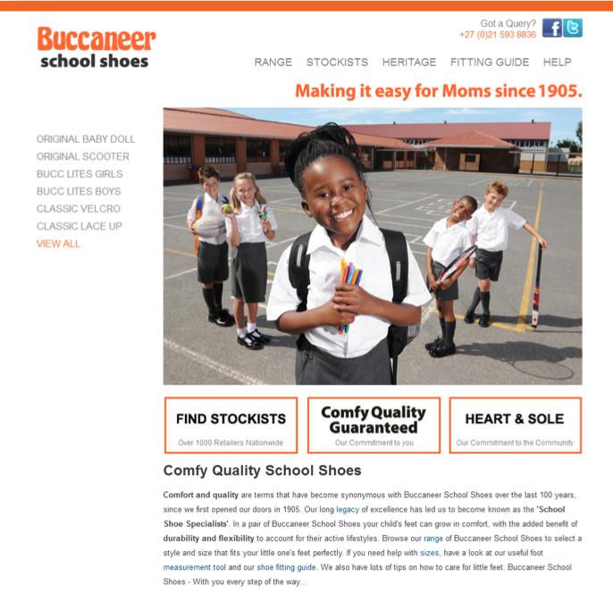 Buccaneer School Shoes - simple website