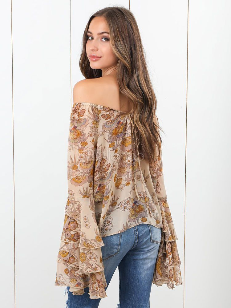 d231db28ce6 Off Shoulder Top Women Chiffon Blouse Printed Long Sleeve Bardot Top #Women,  #Chiffon