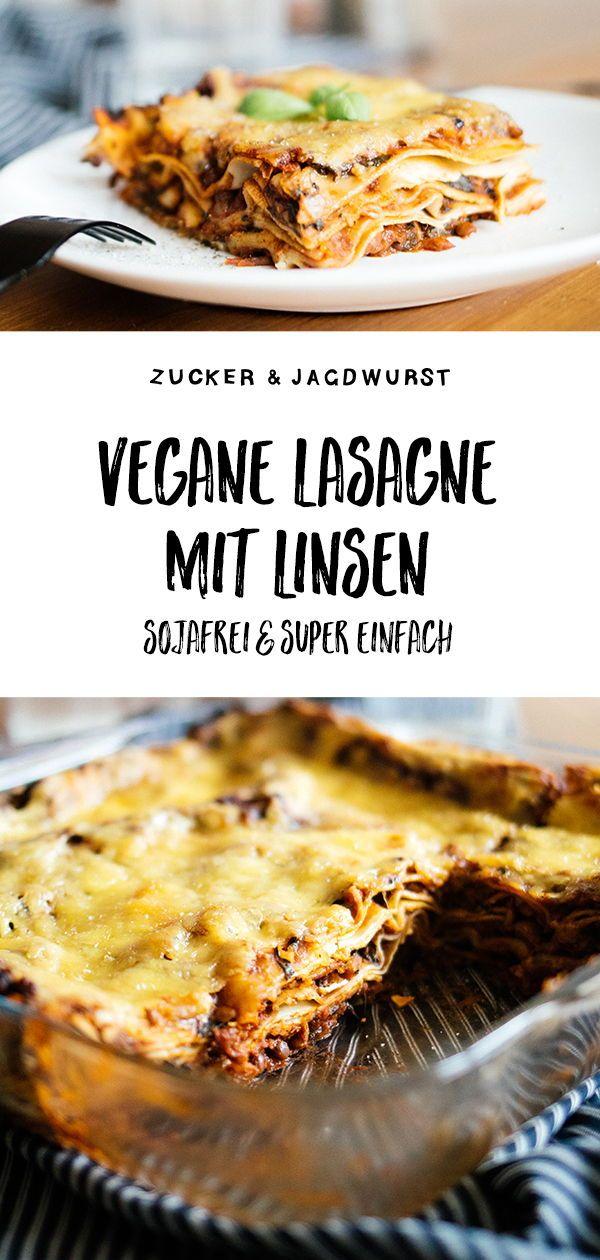 Vegane Lasagne mit Linsen & Spinat (ohne Soja) #spinatlasagne