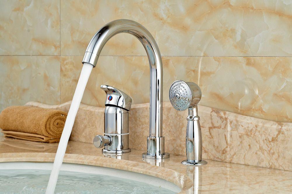 Polished Chrome Brass Bathroom Tub Faucet Hand Shower Diverter Deck ...