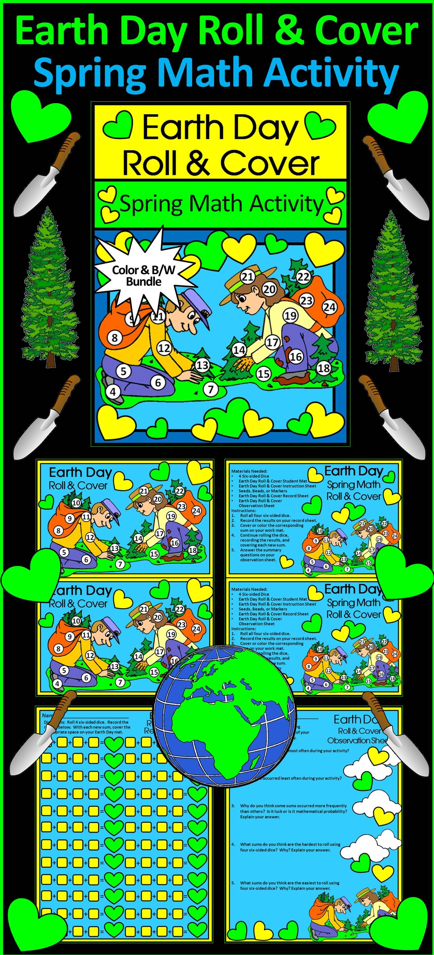 Earth Day Activities Earth Day Roll Amp Cover Spring Math Activity Packet