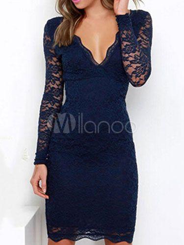 0f6e148d1 Vestido ajustado de encaje de manga larga con cuello en V Vestido ajustado  sin mangas de espalda baja Vestido ajustado