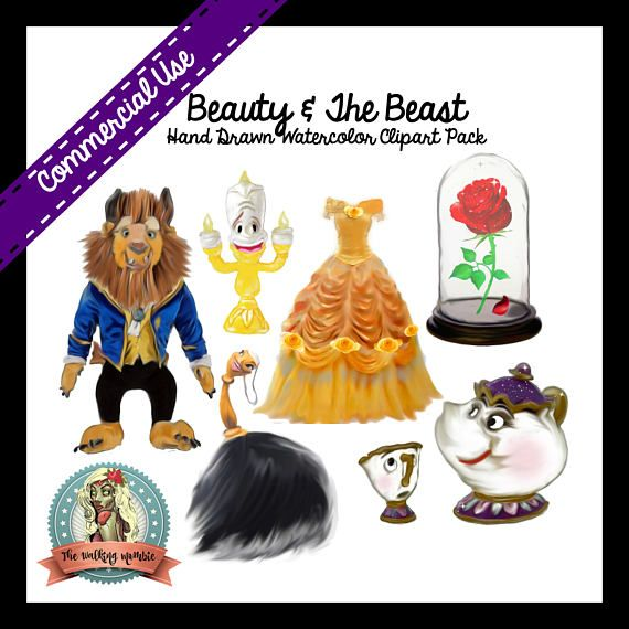 BEAUTY And The BEAST Clipart Belle Digital Clip Art Mrs Potts Chip Lumiere Candle Babette
