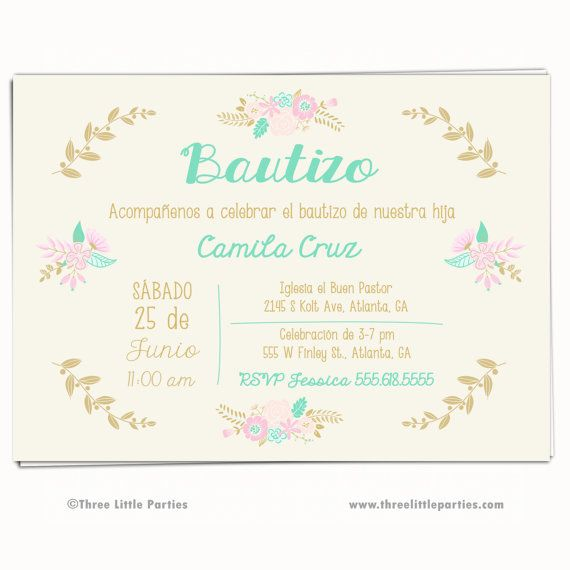 Girl baptism invitation invitacion bautizo christening girl baptism invitation invitacion bautizo christening invitation communion floral baptism invitation spanish english mint gold pink stopboris Images