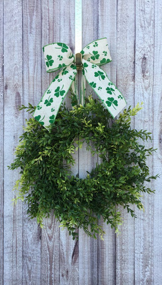 Photo of St Patricks Day Wreath, St Patricks Day Door Decor, St Patricks Wreath, Irish Wreath, Boxwood Wreath, Irish Door Decor, Four Leaf Clover