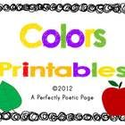 This colors book will allow your student many opportunities to see and write the color words.  Use as a book with the cover and end pages or lamina...