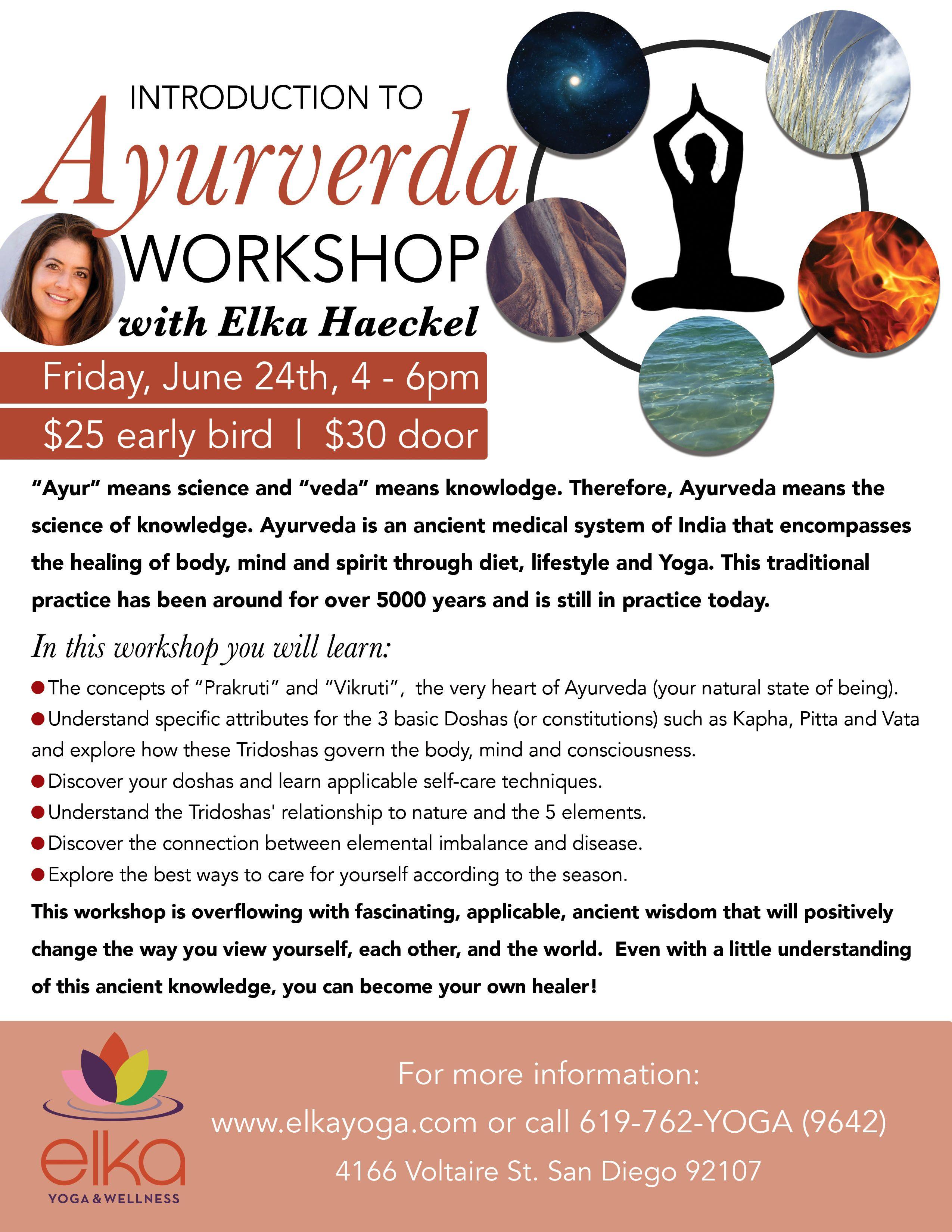 Ayurveda Workshop Flyer Design By Camila Badaro Client Elka Yoga And Wellness