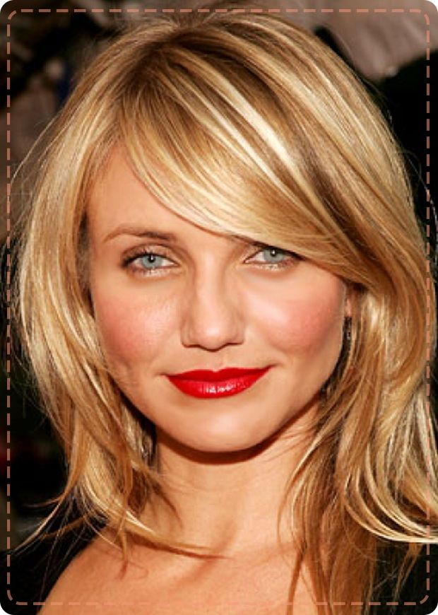 Cameron Diaz S Straight Blonde Hair Is Cut In A Medium Length Layered Hairstyle With Side Swept Bangs Are Easier To Grow Out Than Blunt