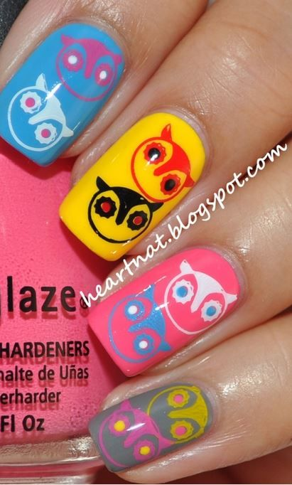 Nail Art Owls Designer Nails Pinterest Owl Nail Nail And