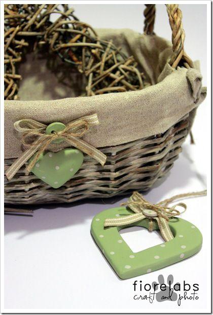 Cuore e bottone in verde