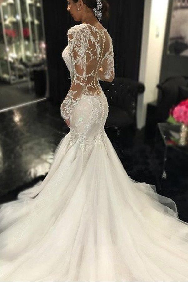 3e1775ad9e Long Sleeve Lace Mermaid Wedding Dresses, Sexy See Through Long Custom Wedding  Gowns, Affordable Bridal Dresses, 17101