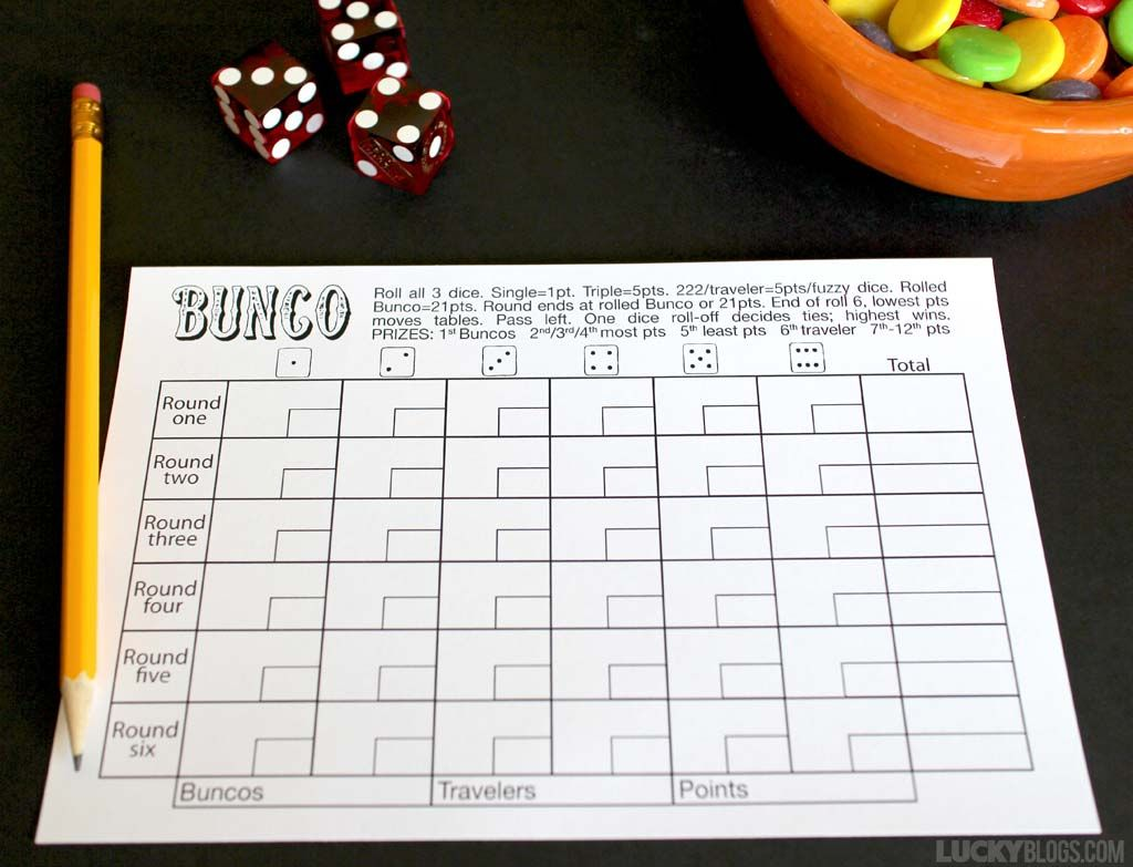 Free Bunco Printables – Bunco Score Sheets Template
