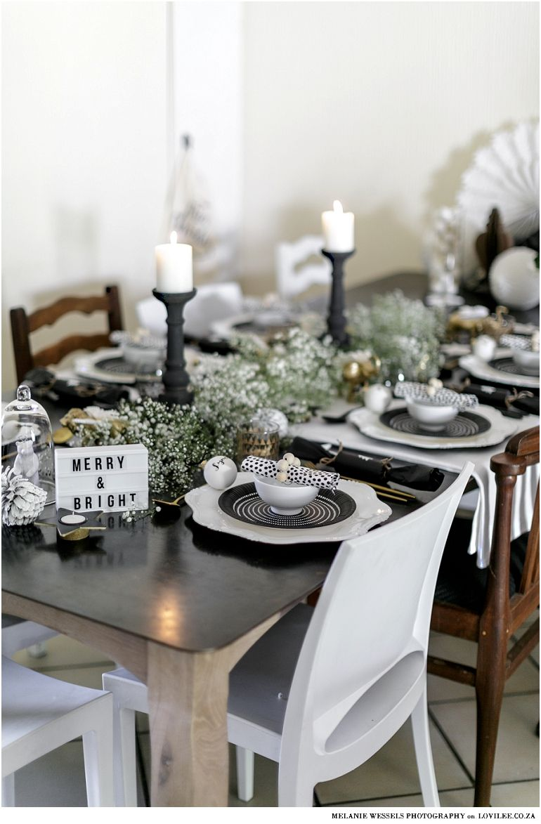 Have Yourself A Black And White Little Christmas Lovilee Blog Online Decor Shop Christmas Table Decorations Black White Christmas Christmas Table