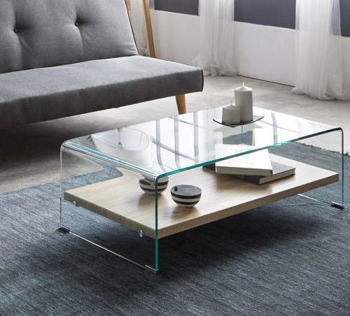 Mesa de centro en cristal templado y madera modelo - Mesas cristal templado ...
