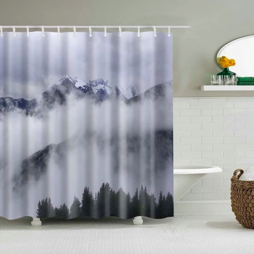 Misty Mountains Fabric Shower Curtain In 2020 Shower Curtain Art