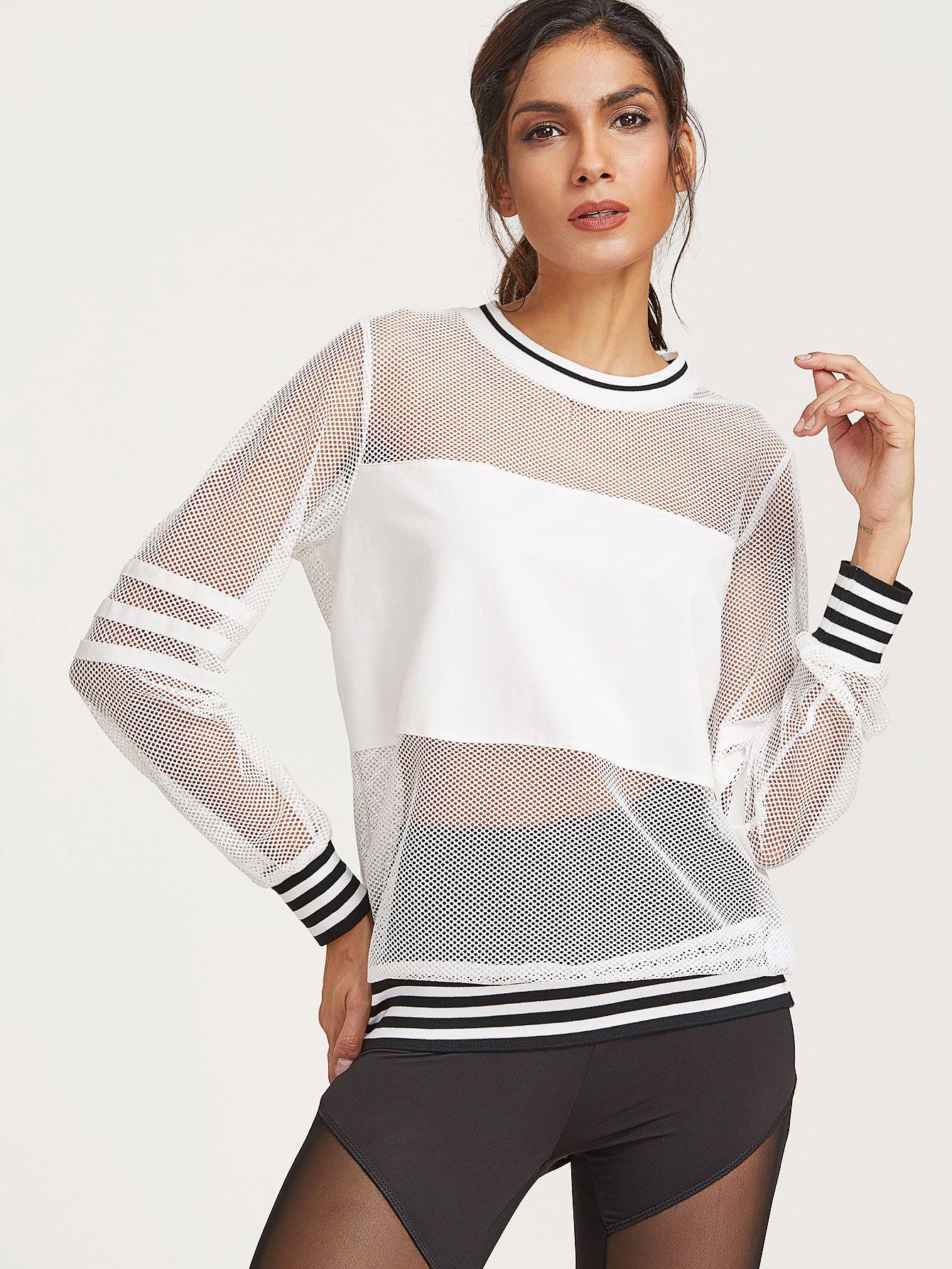 Shop White Striped Trim Fishnet Sweatshirt online. SheIn offers White  Striped Trim Fishnet Sweatshirt   more to fit your fashionable needs. c97b27b61