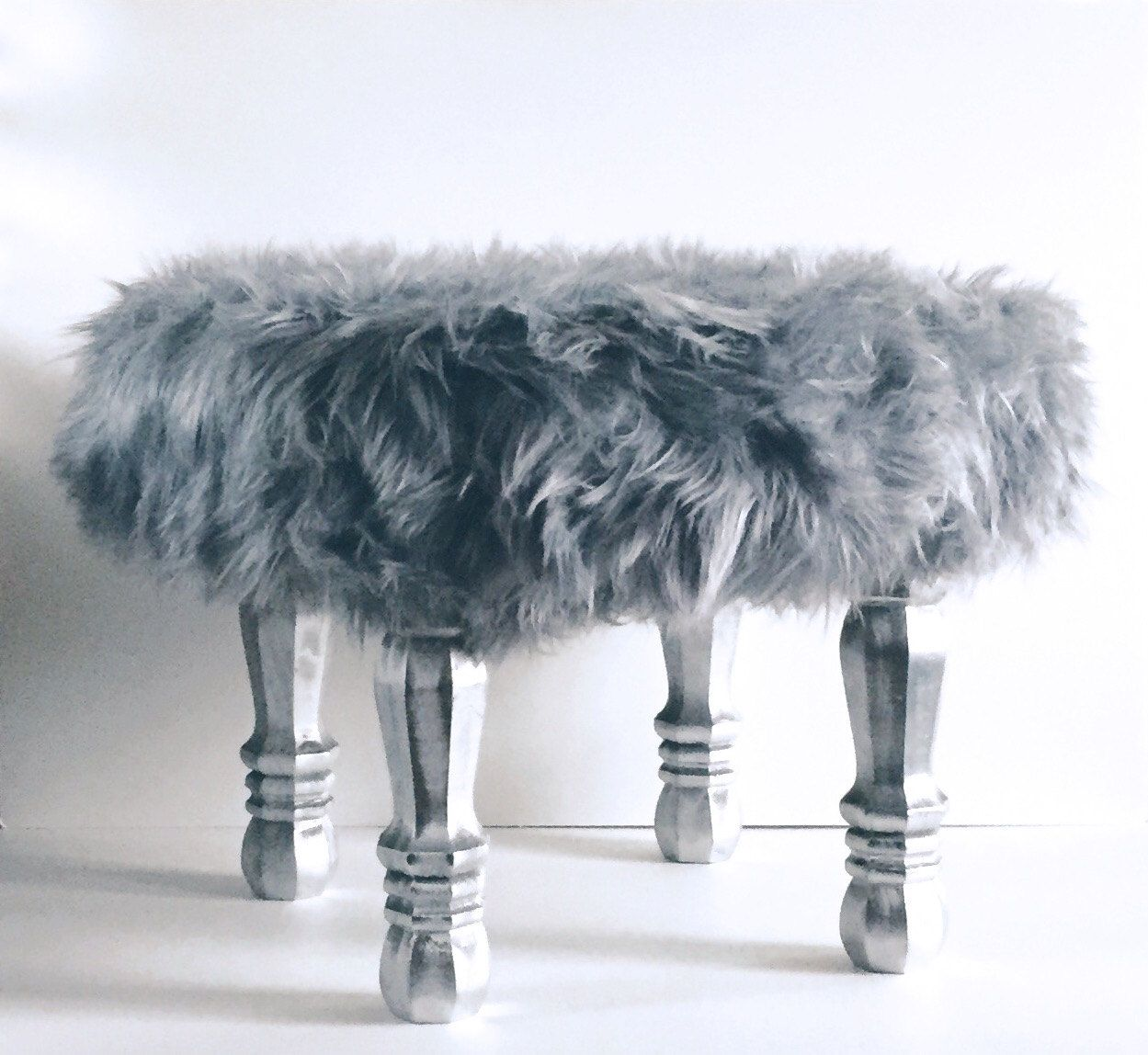 grey faux fur stool fur covered stool accent piece regency  - grey faux fur stool fur covered stool accent piece regency modern footstool faux fur foot