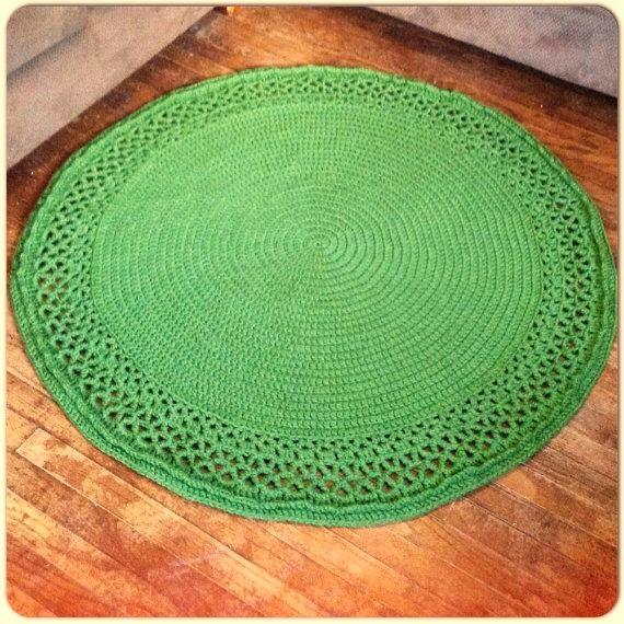 "Large Thick Soft Crochet 51"" Round Swirl Doily Grass Green"