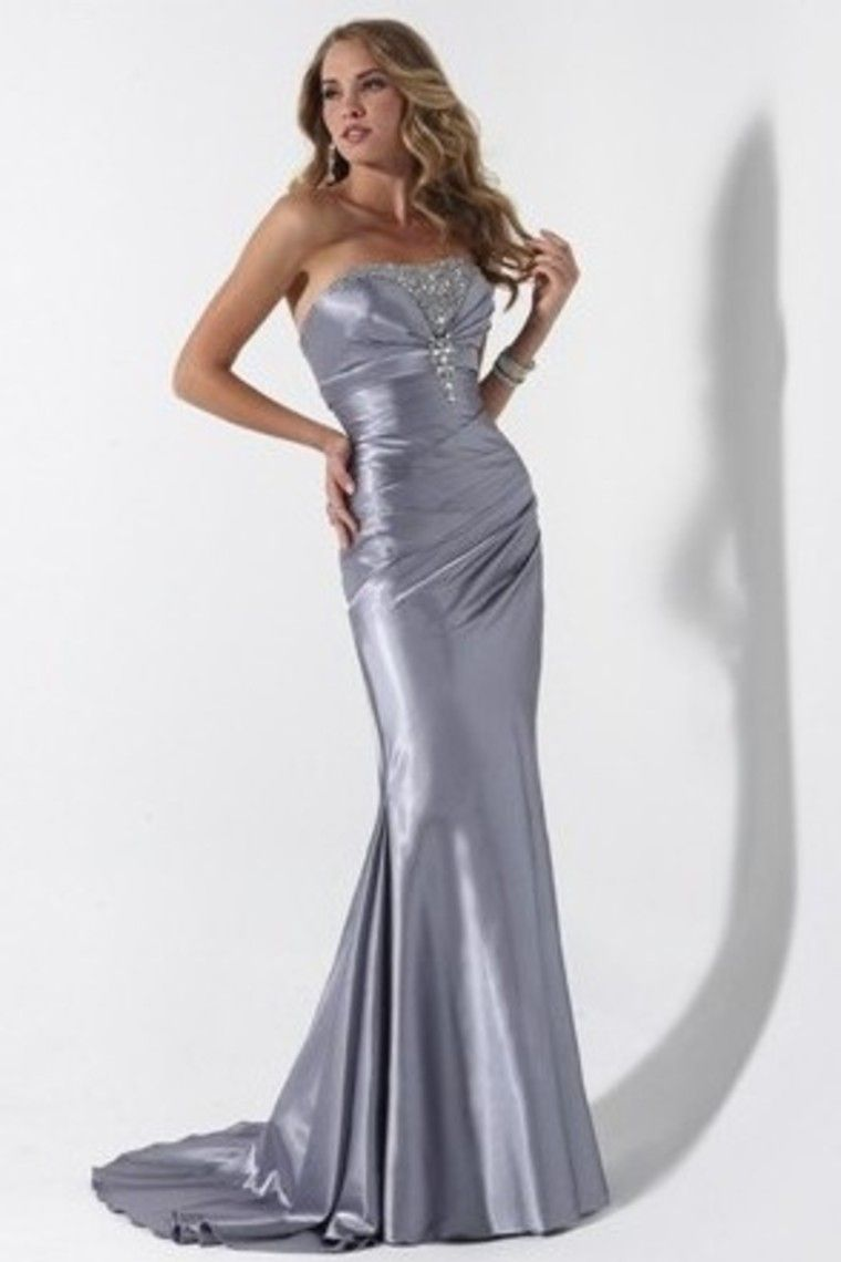 Buy mermaid strapless elastic satin evening dress with ruffles and