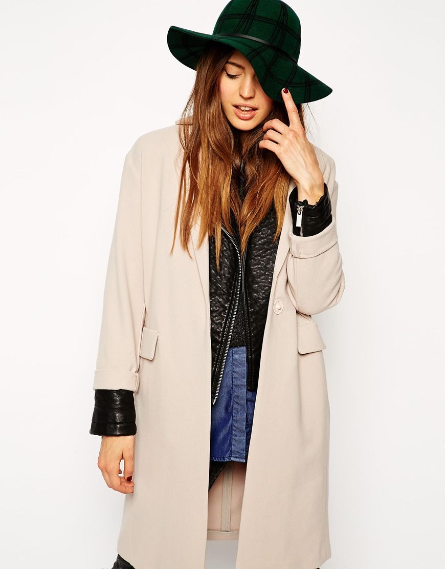 704449c3e9ab8 ASOS Felt Hat With Printed Check