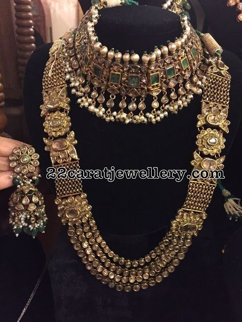 Choker Indian Traditional Ethnic Tribal Jewelry Gold Tone Necklace set Hot Pink