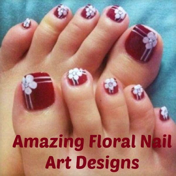 Simple Flower Nail Art Tutorial Painted Toe Nails Flower Toe Nails Cute Toe Nails