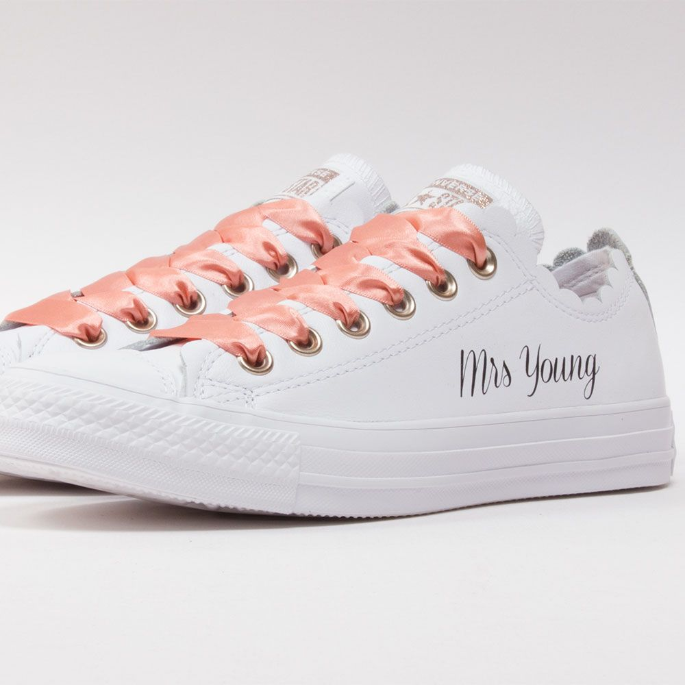 Rose Gold Converse / Leather Converse Customised with Mrs name for the Bride / Scalloped Edge Detail